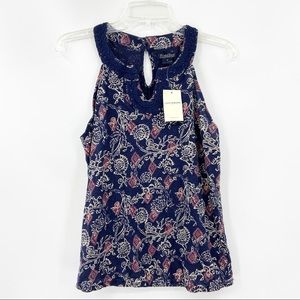 New LUCKY BRAND Blue Floral Print Halter Tank Top